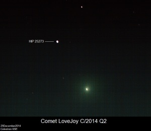 Comet Lovejoy (C/2014 Q2) taken by Me and my wife on 28Dec2014 Near Star labeled.